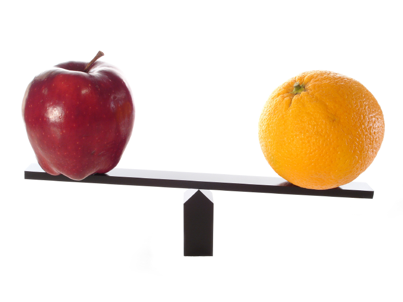 image of balance scale with an apple and an orange