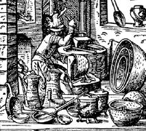 antique woodcut of a pot maker at work