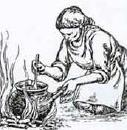 woman cooking over open fire