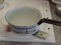 pan heating on induction element with unburned dollar bill under it
